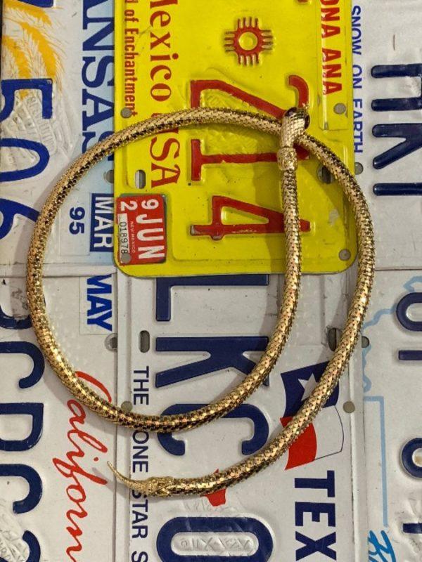 VINTAGE GOLD MESH SNAKE ADJUSTABLE WRAP BELT OR NECKLACE SERPENT CLASP RUBY COLORED JEWEL EYES