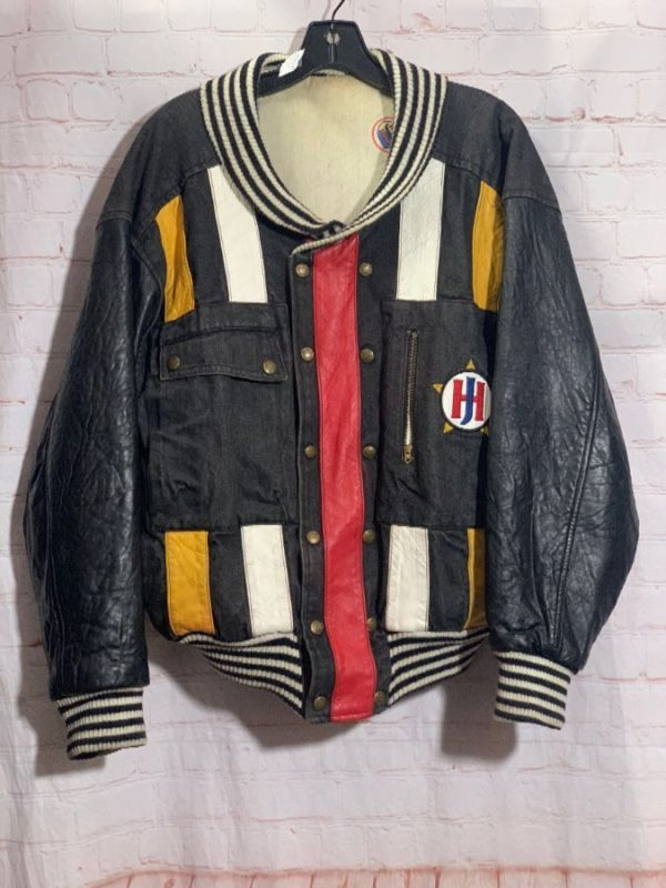 1990s COLOR BLOCK LEATHER JACKET as-is #crosscolors