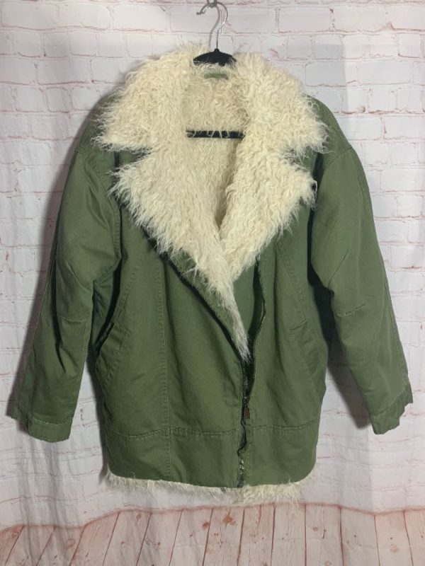 FAUX-SHERLING LINED PARKA JACKET W/ OFF CENTER ZIPPER
