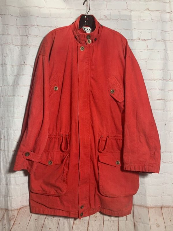 product details: 1990'S OVER-DYED COTTON PARKA JACKET W/ 4 FRONT POCKETS photo