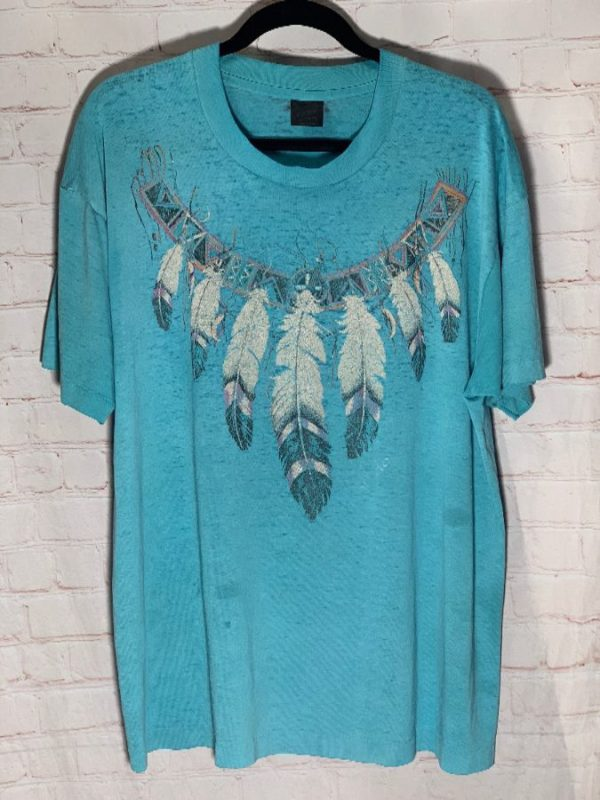 VINTAGE NATIVE AMERICAN FEATHER GRAPHIC DESIGN T-SHIRT PAPER THIN