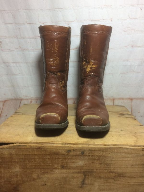 LEATHER SQUARE TOE RANCHER BOOTS made in USA