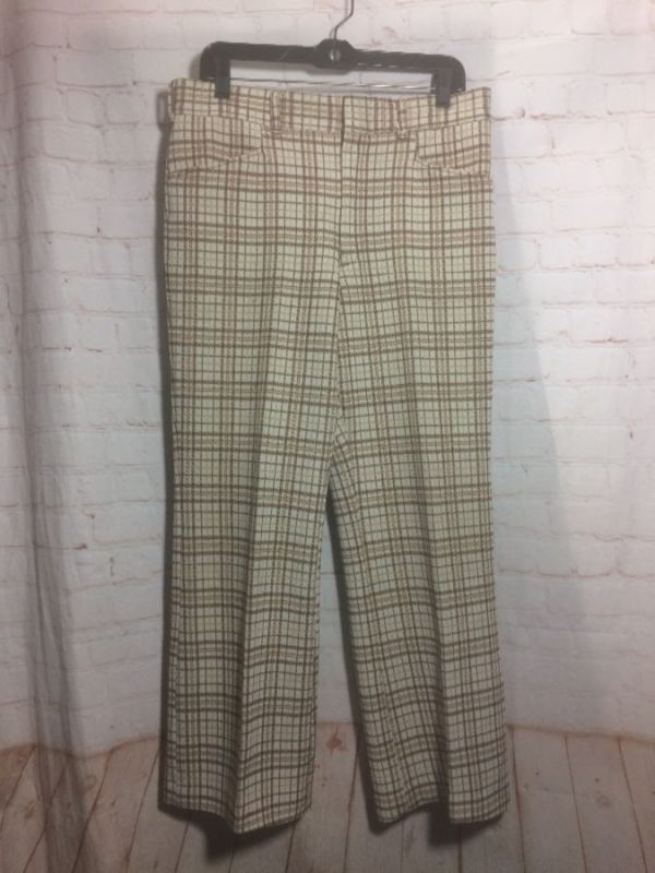 1970'S CROPPED TROUSERS – PLAID DESIGN & BACK POCKETS W/ BUTTONED FLAP