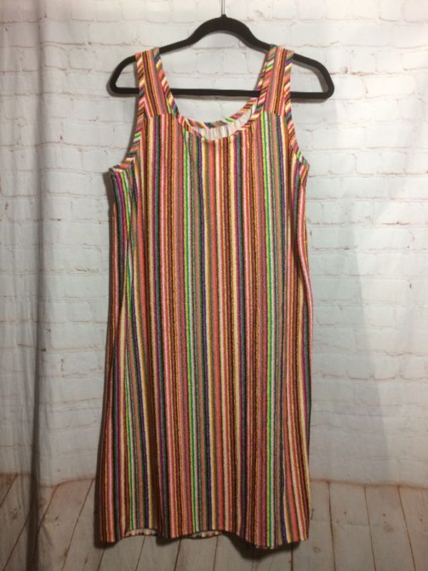 KNEE LENGTH DRESS TERRY CLOTH BRIGHT COLORS & VERTICAL STRIPED DESIGN