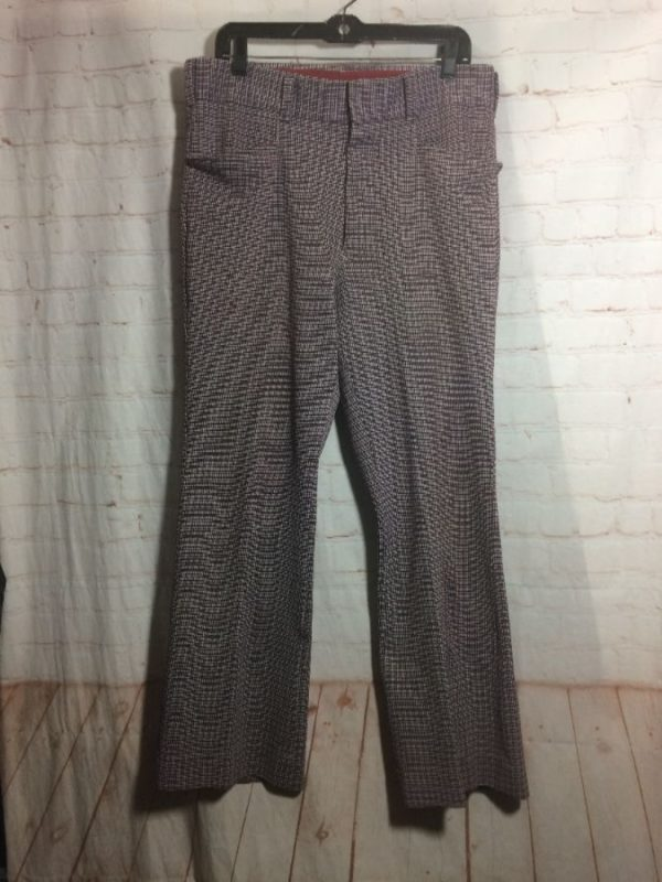 1970'S TROUSERS POLYESTER W/ SMALL CHECK PATTERN