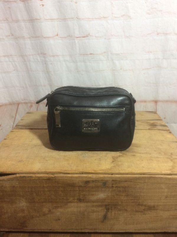 1990'S LEATHER FANNY PACK W/ BUCKLE CLOSURE & SECRET INSIDE POCKET