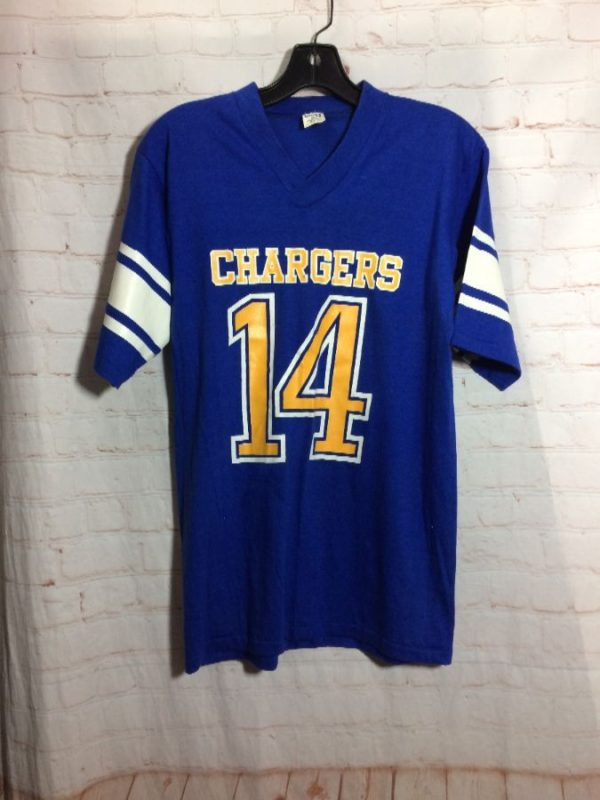 RETRO SAN DIEGO CHARGERS RINGER T-SHIRT #14