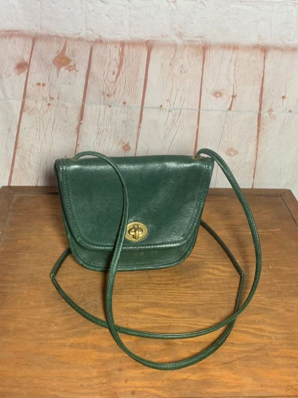 VINTAGE 1990S SMALL MINI LEATHER CROSSBODY PURSE WITH BRASS HARDWARE as-is