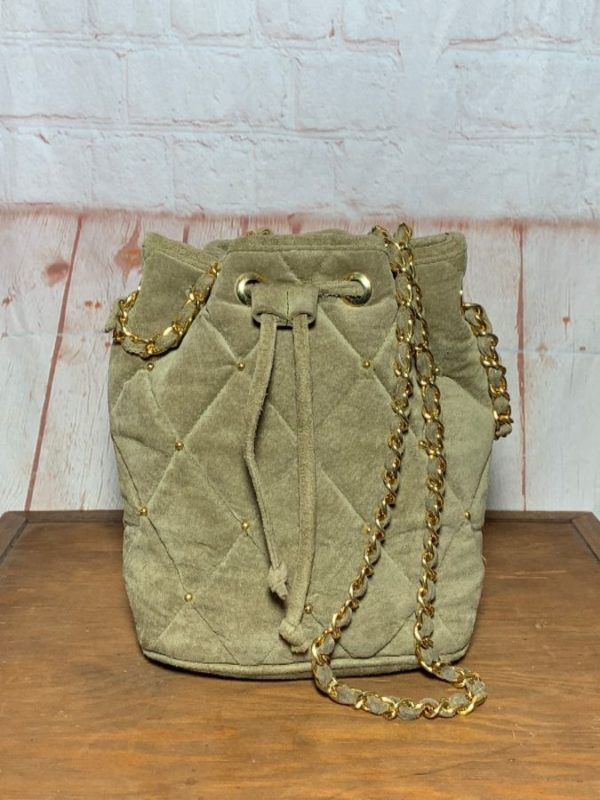 VINTAGE QUILTED SUEDE CHANEL STYLE BUCKET BAG W/ CHAIN STRAPS