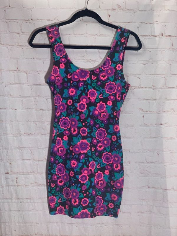 1990'S STYLE DAY-GLO FLORAL PRINT STRETCH FIT BODYCON DRESS