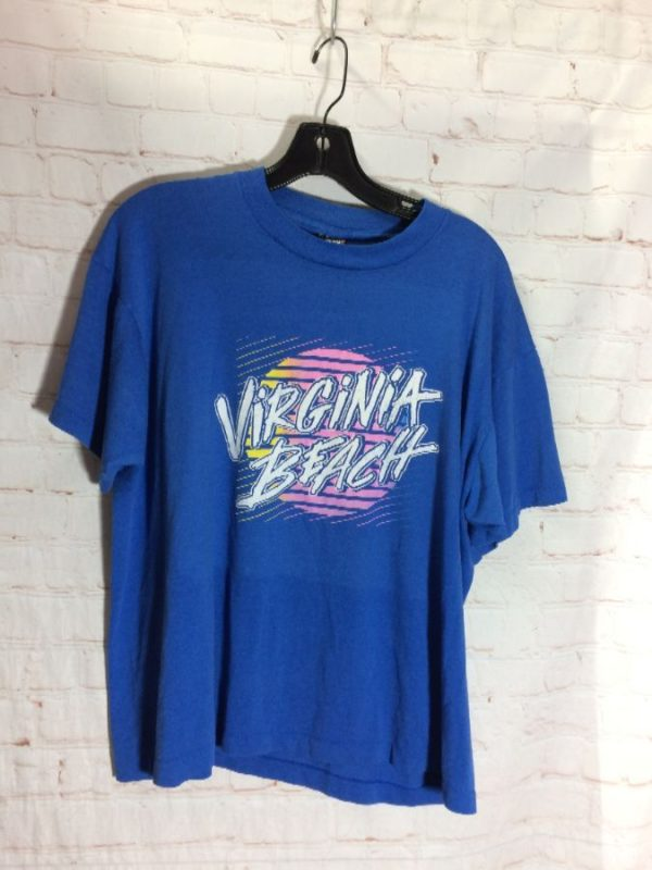 1980'S VIRGINIA BEACH W/ FULL FRONT WILD GRAPHIC LOGO DESIGN T-SHIRT SOFTY