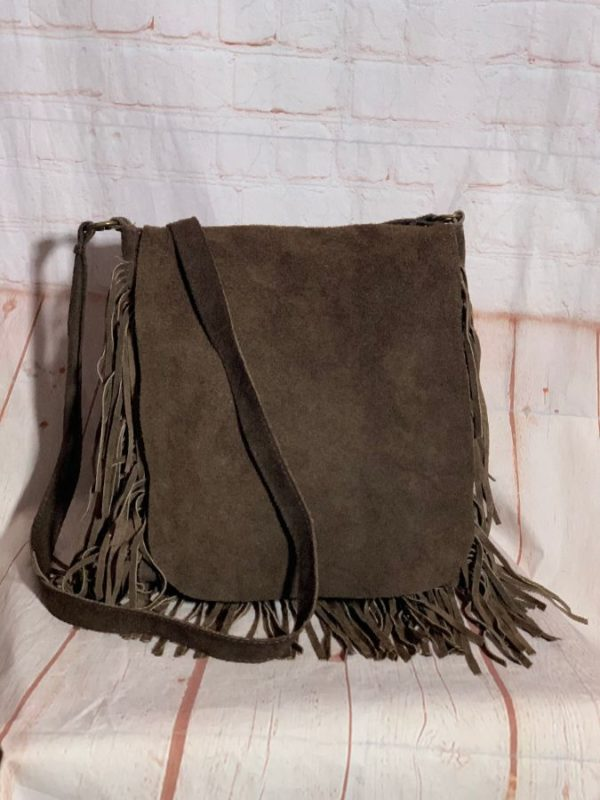 1970'S STYLE SUEDE MESSENGER BAG W/ FLAP CLOSURE & FRINGE AROUND EDGE