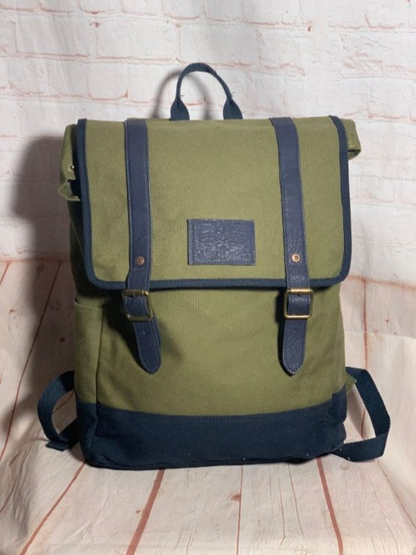MILITARY STYLE LEVIS UTILITY BACKPACK W/ LEATHER TRIM