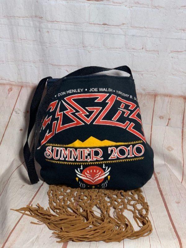 EAGLES SUMMER 2010 SHOULDER BAG W/ SUEDE TASSELS & DENIM INTERIOR