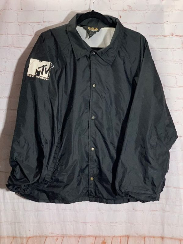 VINTAGE COACH JACKET W/ SCREEN PRINTED MTV LOGO ON RIGHT ARM
