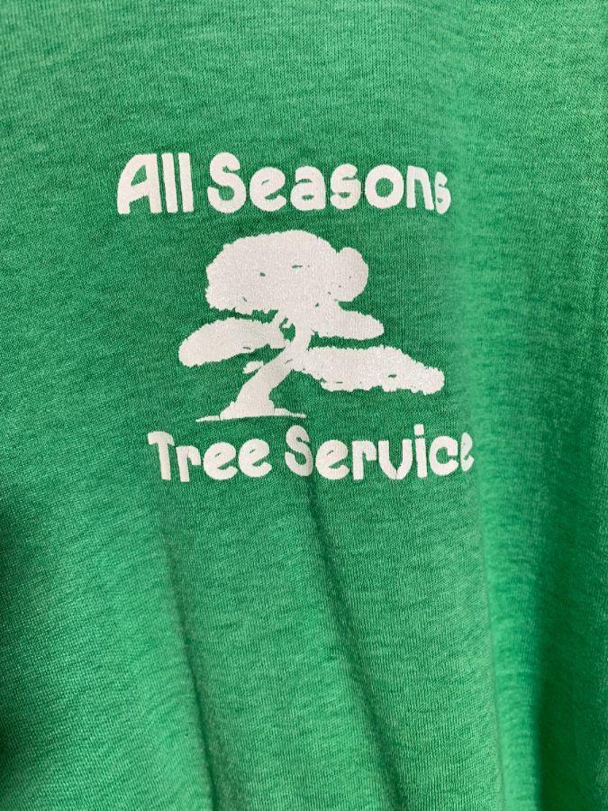 b63809dcd16e5 VINTAGE PAPER-THIN W/ ALL SEASON TREE SERVICE & BONSAI DESIGN T-SHIRT