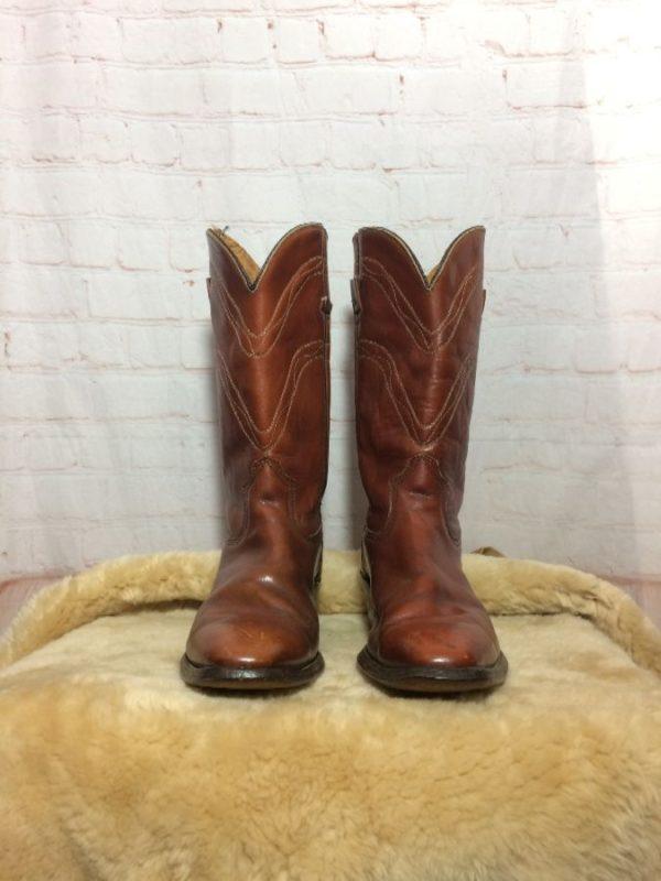 product details: DURANGO WEST LEATHER COWBOY BOOTS W/ WALKING HEEL photo