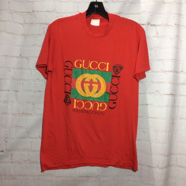 product details: VINTAGE WASHINGTON DC W/ GUCCI BOOTLEG LOGO T-SHIRT PAPER THIN photo
