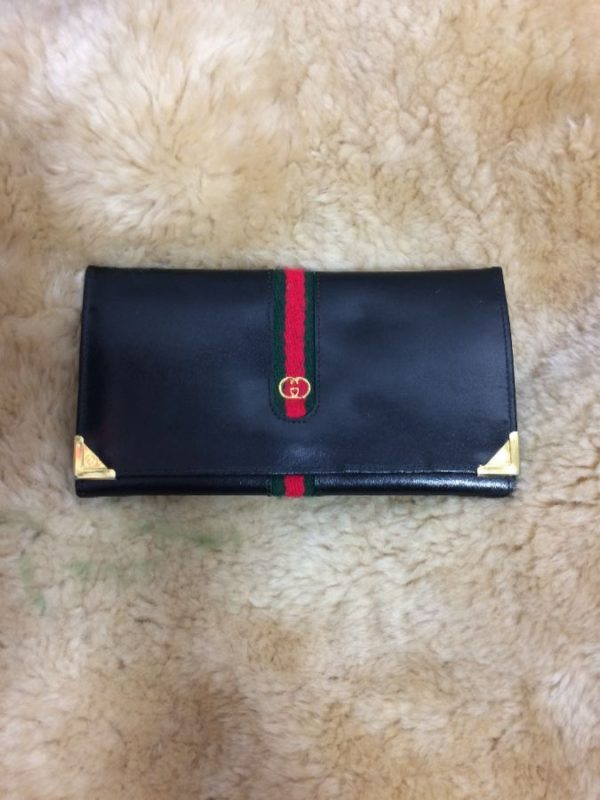 product details: GUCCI LEATHER BILL FOLD I.D. AND CARD HOLDER LONG WALLET photo