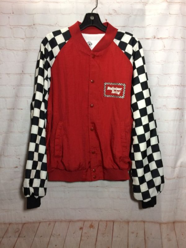 NYLON CHECKERED SLEEVES BUDWEISER RACING BOMBER JACKET