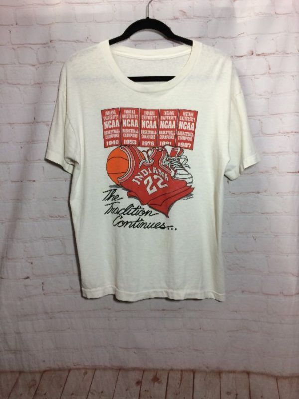 INDIANA UNIVERSITY NCAA BASKETBALL CHAMPIONS 1987 W/ FRONT GRAPHIC T-SHIRT