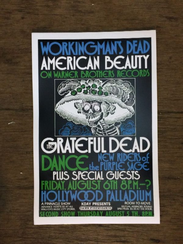 product details: THE GRATEFUL DEAD WORKINGMANS DEAD AMERICAN BEAUTY AT HOLLYWOOD PALLADIUM CONCERT POSTER photo
