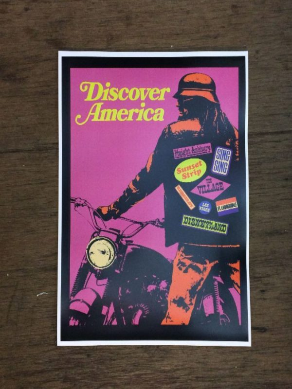 product details: Discover America Motorcycle road-trip poster photo