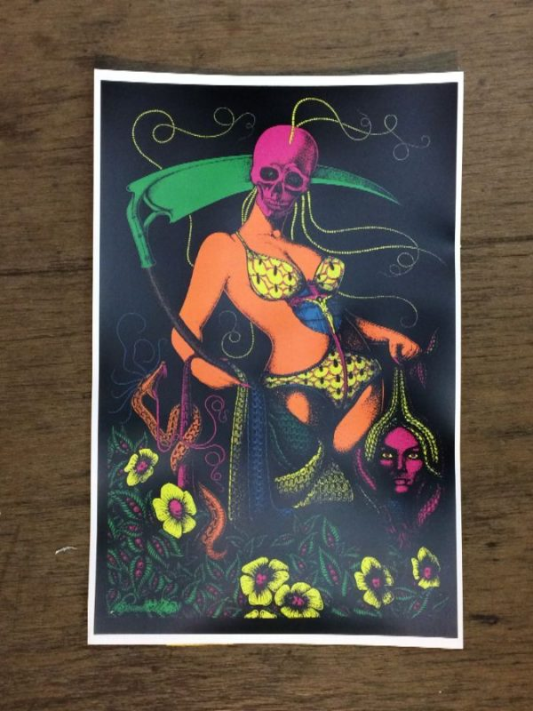 product details: GRIM REAPER IN BATHING SUIT PSYCHEDELIC POSTER photo