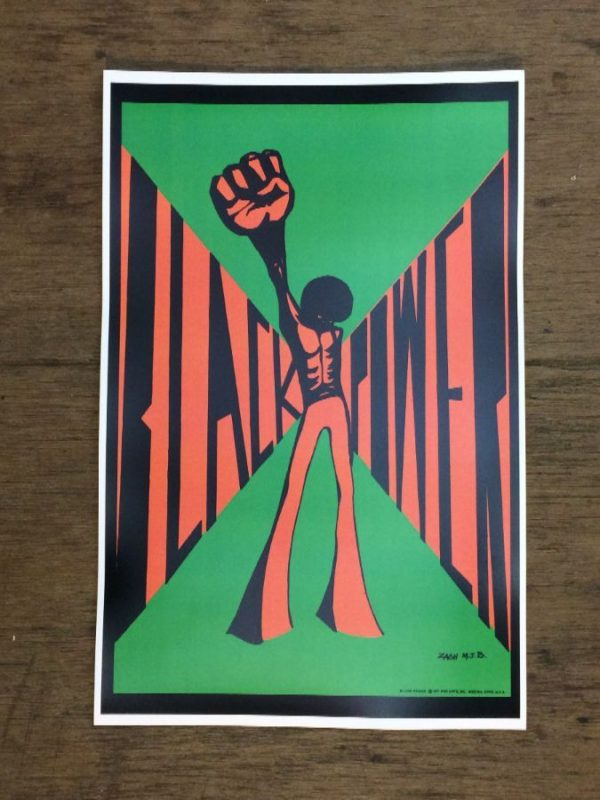 Black Power raised fist 70s poster