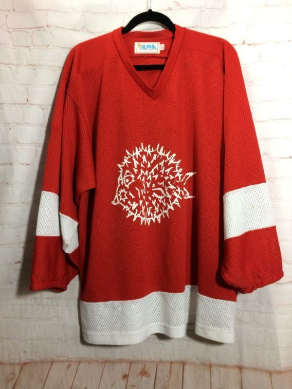 STRIPED SLEEVES HOCKEY JERSEY W/ BLOWFISH GRAPHIC