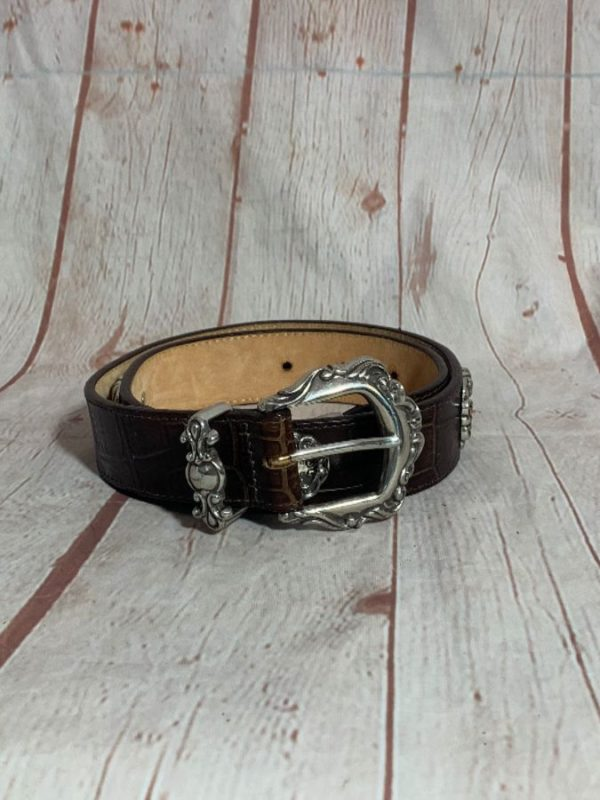 1990'S VINTAGE ALLIGATOR SKIN BELT W/ ORNATE SILVER METAL CONCHOS & HARDWARE