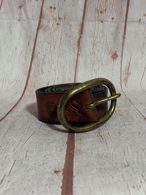 VINTAGE DISTRESSED LEATHER BELT W/ HEAVY SOLID BRASS OVAL BUCKLE