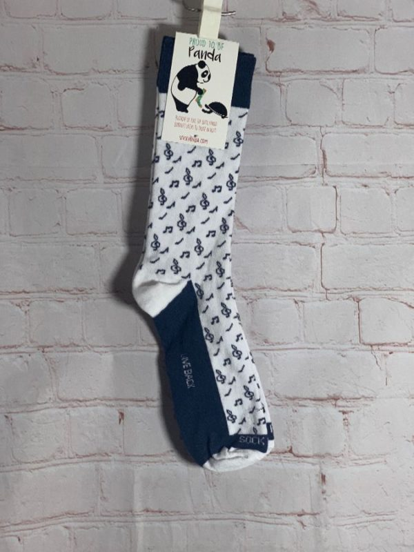 product details: LONG SOCKS WITH MUSIC NOTES DESIGN PROUD TO BE PANDA BRAND NWT photo