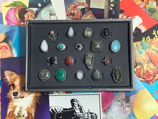 ASSORTED SEMI-PRECIOUS STONE RINGS W/ STERLING SILVER SETTINGS