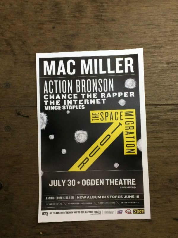 product details: MAC MILLER, ACTION BRONSON, CHANCE THE RAPPER AT OGDEN THEATER CONCERT POSTER photo