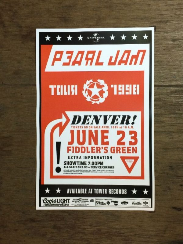 product details: PEARL JAM AT FIDDLERS GREEN TOUR 1998 CONCERT POSTER photo