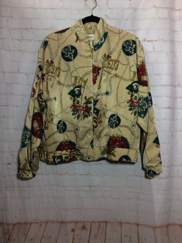 BAROQUE ALL OVER PRINT POLYESTER ZIP-UP WINDBREAKER TYPE JACKET