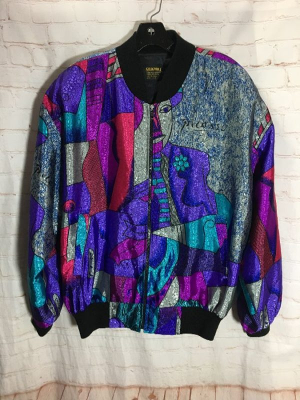 PICASSO PATTERN SATIN REFLECTIVE PUFFY WINDBREAKER BOMBER JACKET