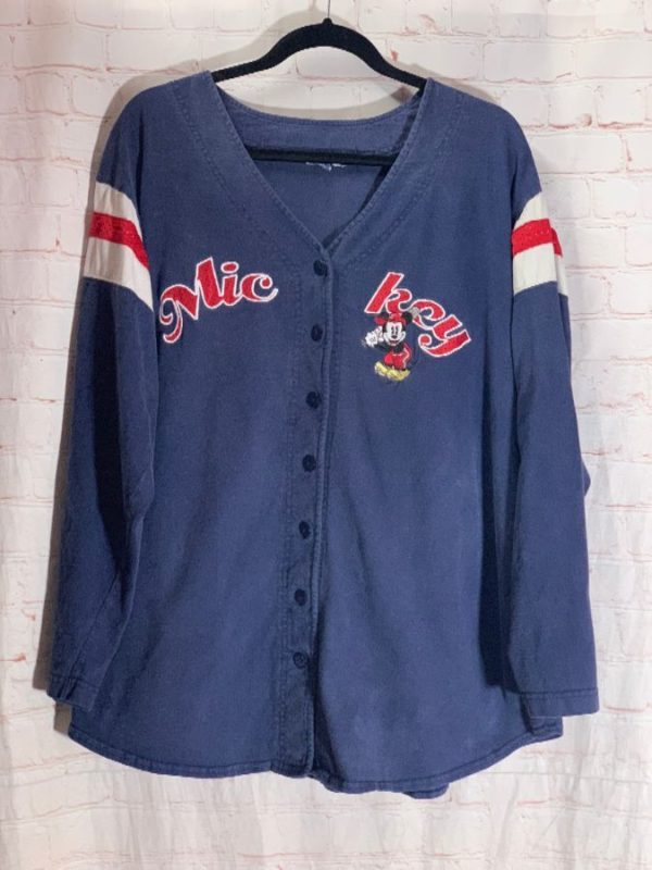 VINTAGE COTTON JERSEY W/ EMBROIDERED MICKEY MOUSE AT BAT & LETTERING