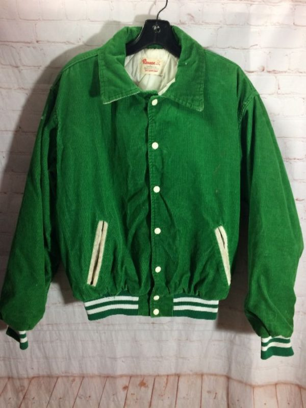 CLASSIC 1970'S CORDUROY BASEBALL JACKET W/ QUILTED LINER