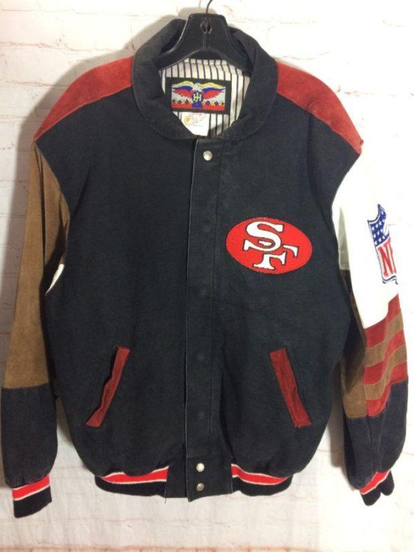 SAN FRANCISCO 49ER'S LEATHER & DENIM JACKET BY JEFF HAMILTON