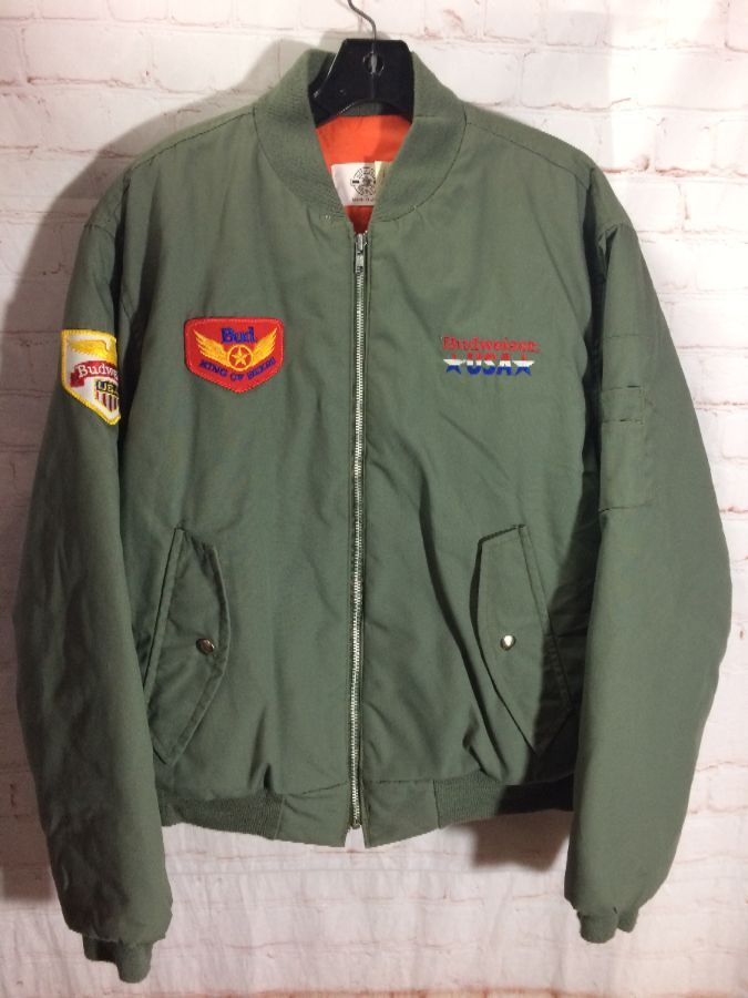 bc0c6146623 BUDWEISER MILITARY BOMBER JACKET W  EMBROIDERED LOGO PATCHES ...