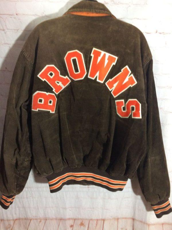 NFL CLEVELAND BROWNS CORDUROY BOMBER JACKET W/ BROWNS APPLIQUED ACROSS BACK