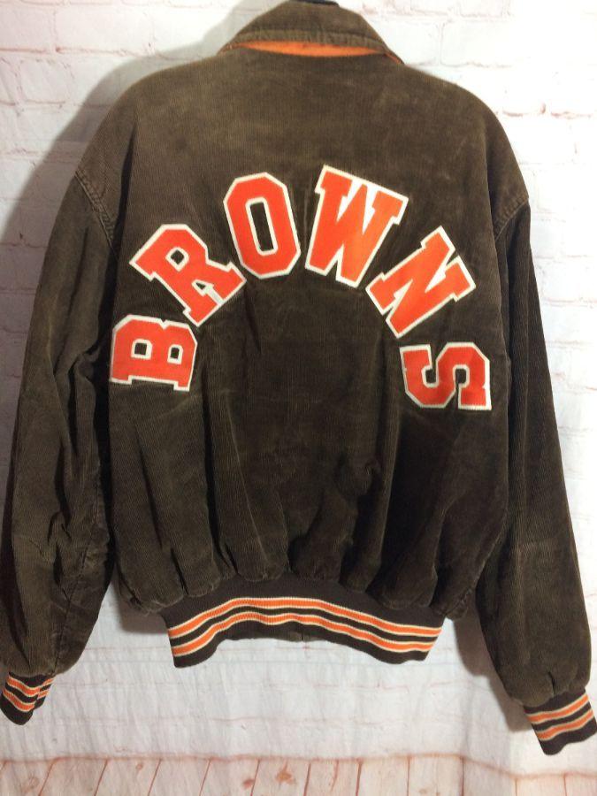 5a925d18 NFL CLEVELAND BROWNS CORDUROY BOMBER JACKET W/ BROWNS APPLIQUED ACROSS BACK