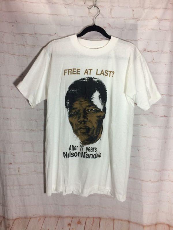 product details: NELSON MANDELA - FREE AT LAST? BOOTLEG T-SHIRT photo