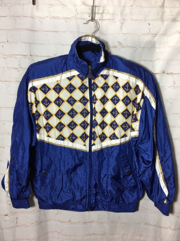 1980'S FUN NAUTICAL & ANCHOR PRINTED WINDBREAKER