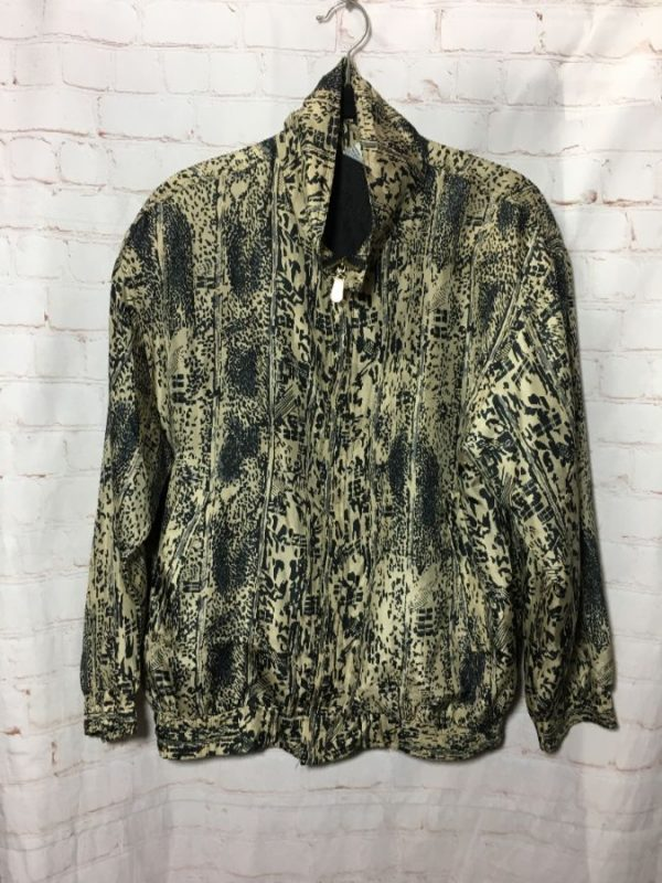ABSTRACT PRINT DESIGN SILK BOMBER JACKET