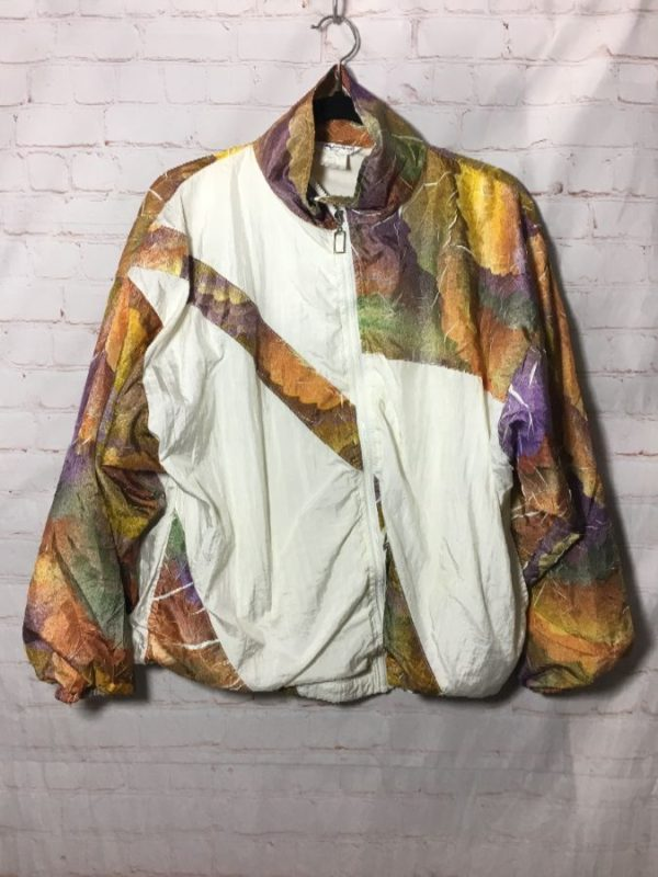 1980S FUNKY WINDBREAKER FALL COLORS CRACKLE TECHNIQUE