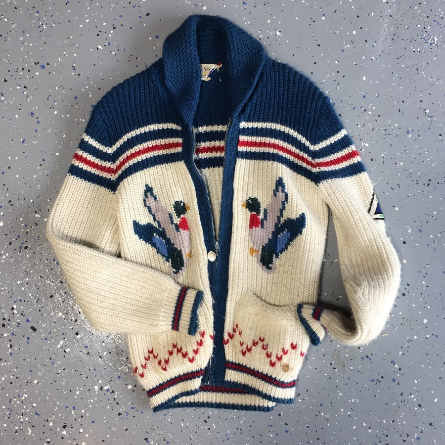 0d6e6bada 1970S CHUNKY KNIT COWICHAN CARDIGAN SWEATER FLYING DUCKS DESIGN as ...