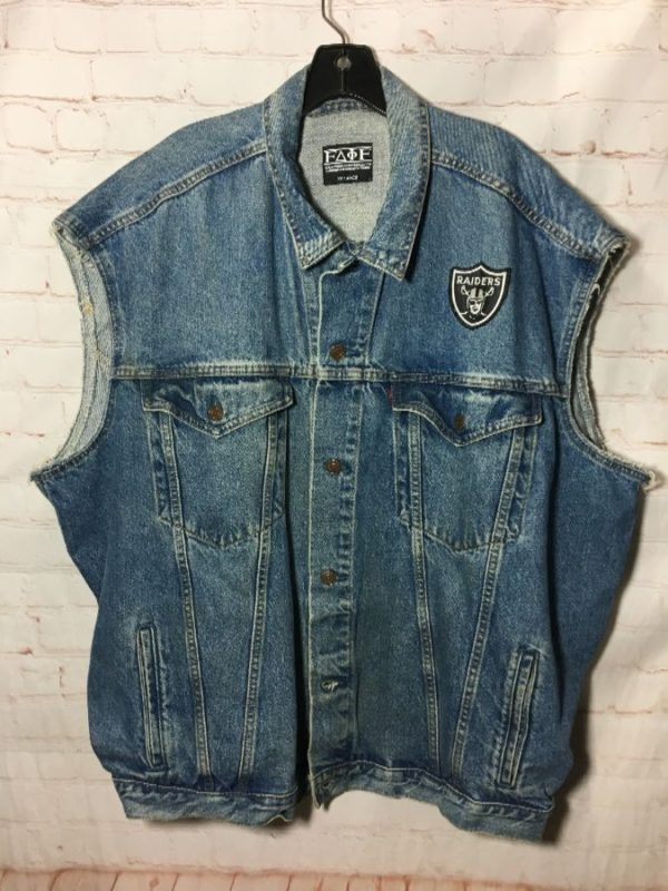 product details: ALTERED LEVIS DENIM VEST W/ EMBROIDERED RAIDERS PATCHES photo